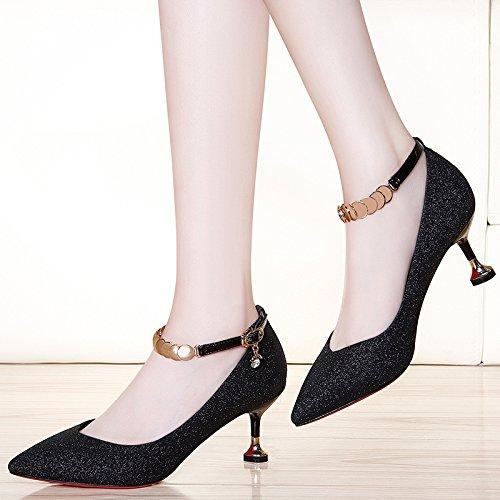 Femmes Femme 5cm De Party 4 6 Moyens Soirée Talons Cour Sexy 36 De Haute Talons EU Chaussures Black Mariage Nightclub Chaussures À Mode Noir UK Travail Chaussures fwqfBr6