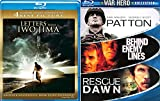 Letters from Iwo Jima Blu Ray War Hero Collection (Behind Enemy Lines / Patton / Rescue Dawn 4 Pack Military Movie Action Next Mission Set