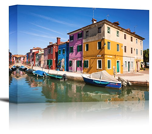 Burano Island Canal Venice Italy Art Print Wall Decor Image   Canvas Stretched Framed 16 X 24   M
