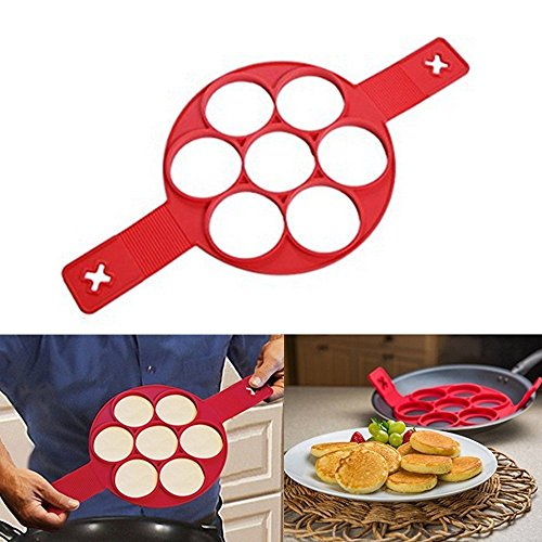 Pancake Mold Ring – Makes the perfect pancakes, eggs, hash browns, & brownies in non-stick silicone maker tool. Kitchen bakeware from high grade silicone