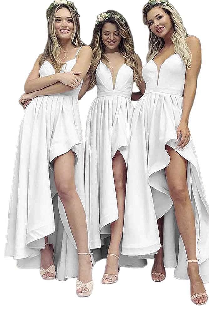 White Dressylady A Line V Neck Spaghetti Straps High Low Satin Bridesmaid Dress Wedding Party Dress