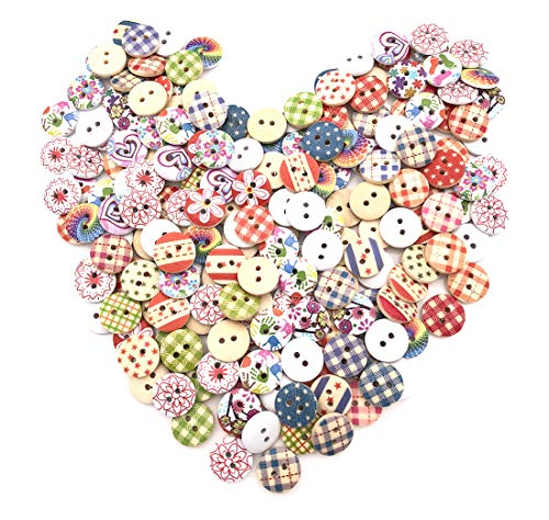 200pcs DIY Mixed Wood Wooden Buttons 2 Holes for Children Handmade Art Pattern Clothing Sewing Scrapbooking Knitting Crafts Button Round Multicolor Colorful (Single) -