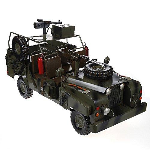 JJLESUN3 54 54 54  23  26 cm Retro Metall Gepanzerte Auto Oldtimer Militär Jeep Modell Militär Auto Dekoration c22a23