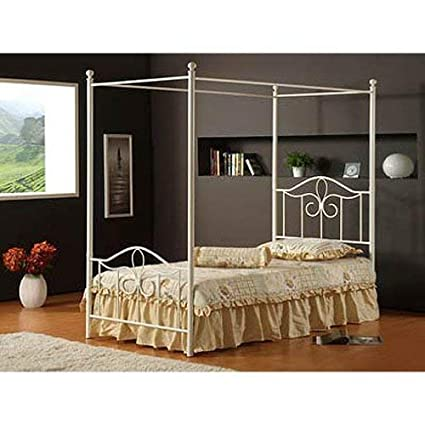 Hillsdale Furniture 1354BFPR Westfield Canopy Bed Set with Rails, Full, Off  White