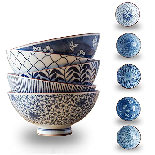 YALONG 8.3-Ounce 5-Piece Bowl Set, Blue Porcelain Serving Rice,Soup,Salad,Pasta Anti-slipping, Stackable 4.8-inch Deep Bowl Set for Father's Day -