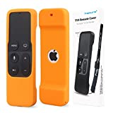 Remote Protective Case for Apple TV 4th Remote Controller, Hapurs Anti-Slip Silicone Light Weight Cover Case with a Lanyard for Apple TV 4th Generation Siri Remote Controller-Orange