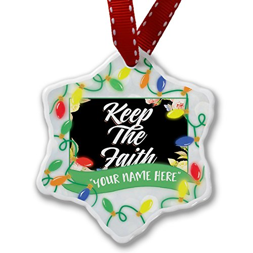 Personalized Name Christmas Ornament, Floral Border Keep The Faith NEONBLOND by NEONBLOND