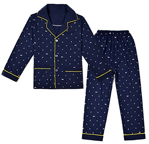 Star Long Sleeve Button Front - Pajamas Set Trendy XU Boys Stars Long Sleeve Button Front Sleepwear Suit (8)