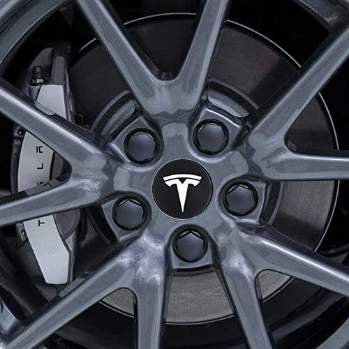 BASENOR Tesla Model 3 Aero Wheel Cap Kit Center Cap Set and Wheel Lug Nut Cover (White)