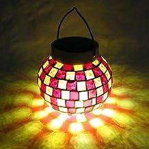 LLSai-Ceramic Plaid LED Solar Powered Garden Light -Solar Table Light- Solar Small Night Light