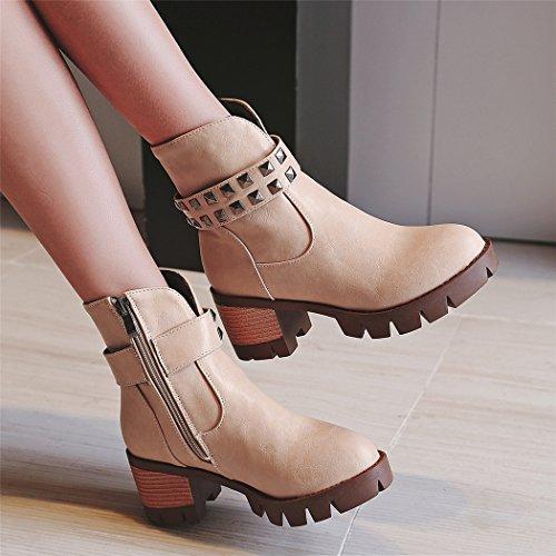 Taiwán El impermeable el QX redonda estudiantes cabeza de y cortas con otoño y Botas tacón Beige zapatos hembra ZQ elegante grueso QIAN de botas invierno versátil botas tn7qPAEwx