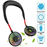 Hand Free Mini USB Personal Fan - Rechargeable Portable Headphone Design Wearable Neckb