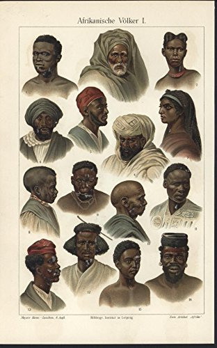 [Africans Costumes Native 1907 antique color lithograph print] (30 Second Costumes)