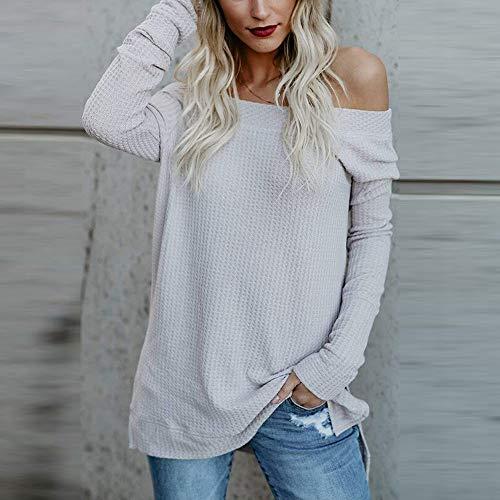 Hiver Hiver tricot Blanc Shirt Manches Automne Plein VJGOAL Long dbardeur T Pull pais Confortable Femmes Chemisier qxzXp4U