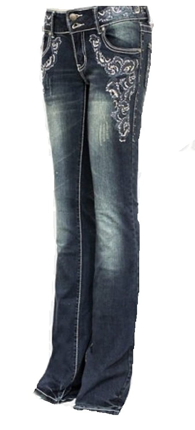 Montana West Trinity Ranch Embroidered Rhinestone Western Jeans