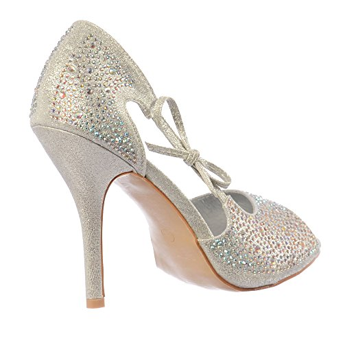 Onlineshoe Damen Peep Toe Diamante Partei Ferse Mit Bogen Silber Diamante