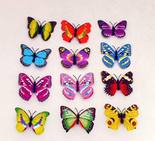 20PCs 10cm Simulated decor colorful butterfly with magnetic-iron could easy stick to your fridge and other items with metal! decorate your room! Also could stick to the wall with adhesive! Make your world with group of butterflys!decor butterflies!Various colors and styles