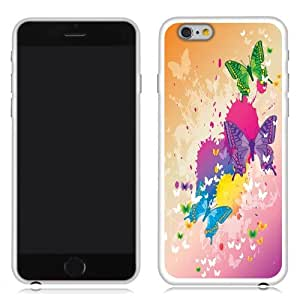 Fincibo (TM) Apple iPhone 6 6s 4.7 inch 2nd Gen 2015 TPU Silicone Protector Case Cover Soft Gel Skin - Colorful Butterfly With Grunge