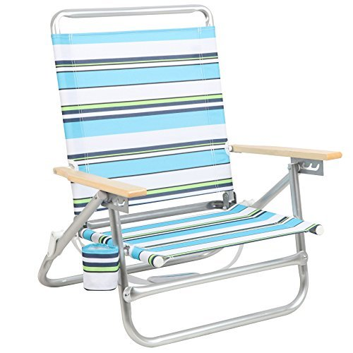 PORTAL Folding Camping Sand Beach Chair, Aluminum Lightweight 4 Positions Chair Recliner with Wood Armrest Cup Holder Carry Strap