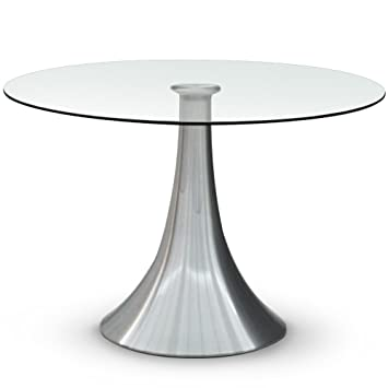 Menzzo Ks1553 Contemporary Equinox Round Table Metal Glass Silver