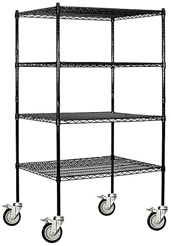 Salsbury Industries Mobile Wire Shelving Unit, 36-Inch Wide by 69-Inch High by 24-Inch Deep, (Heavy Duty Mobile Shelving Unit)