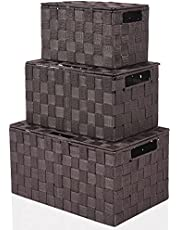 Harrage Decorative Large Basket Storage Boxes with Lids, Portable Cube Baskets for Shelves, Luxury Container Tote Organizer for Toys, Durable Shelf Bins Set Bathroom Drawer Containers(3 Pack Brown)