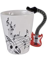 Guitar Music Unique Handle Art Musical Notes Holds Tea Coffee Milk Ceramic Mug Cup 12 Oz Best Gift,Black