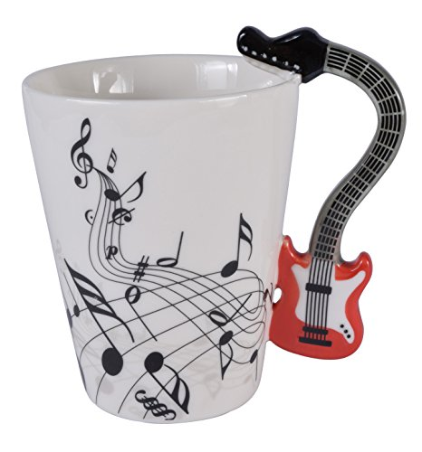 Guitars Red Bone (Guitar Music Unique Art Musical Notes Holds Tea Coffee Milk Ceramic Mug Cup 12 oz Best Gift,Red)