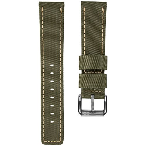 ZULUDIVER Waterproof Diver's Watch Band Army Green & Straw Yellow Stitching 22mm (Diver Yellow Watch)