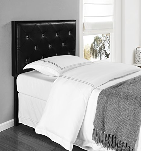 Kings Brand Furniture Metal Tufted Design Upholstered Headboard, Black, Twin by Kings Brand Furniture