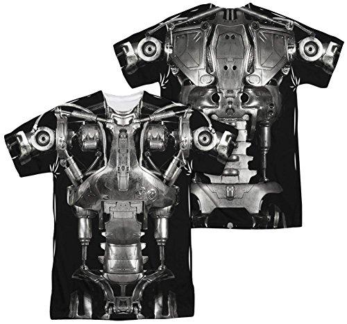 [Terminator - Endoskeleton Costume (Front - Back Print) T-Shirt Size S] (Cameron Terminator Costume)
