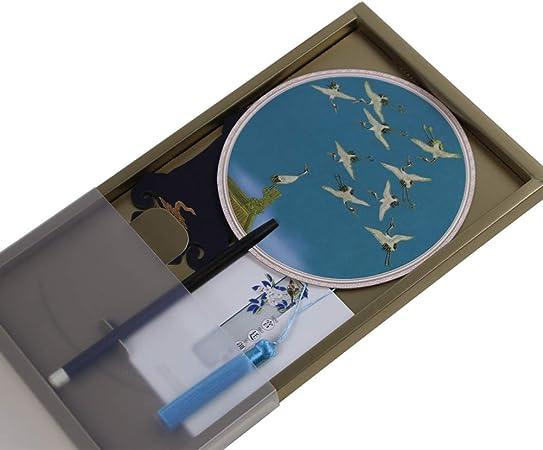 CETLFM Ventilador De Artesanía Antiguo Creativo, Superficie De Ventilador De Grúa Voladora De Seda, Ventilador De Sándalo Y Mango De Regalo.: Amazon.es: Hogar