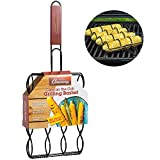 Camerons Products Corn Grilling Basket - Non-Stick Corn Griller with 9'' Rosewood Handle - Cooks 4 Ears of Corn