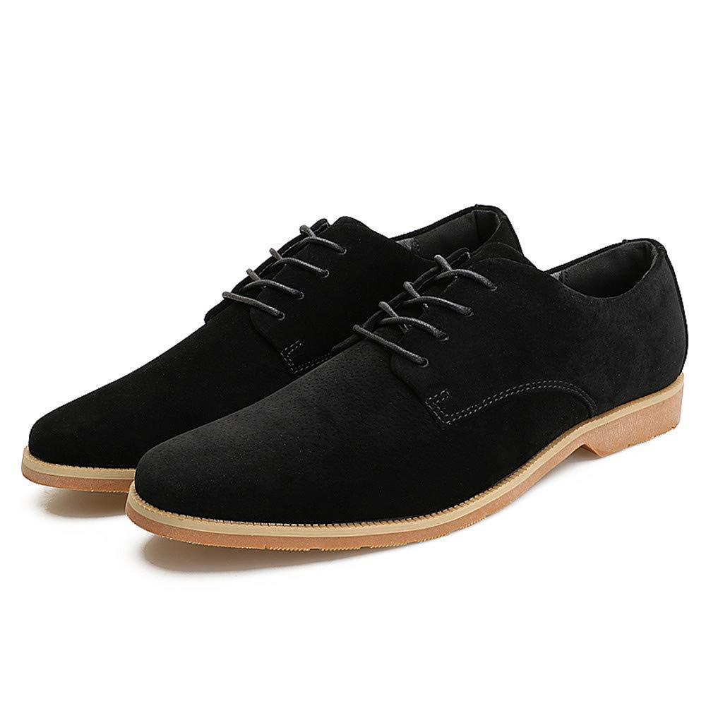 FuweiEncore 2018 Herren Herren Herren Oxfords Leisure Flat Heel Lace Up Echtes Leder Volltonfarbe Schuhe (Farbe   Schwarz, Größe   42 EU) (Farbe   Schwarz, Größe   42 EU) e5a34b