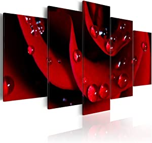 Red Rose Paintings Modern Flower Canvas Pictures 5 Pieces HD Photo Prints Home Decor Framed Floral Wall Art for Living Room