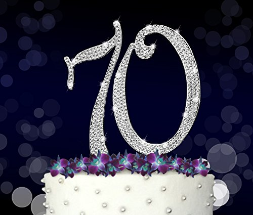 70 70th Happy Birthday Cake Topper Anniversary Crystal Rhinestones On Silver Metal Party Decorations Favors Vow Renewal