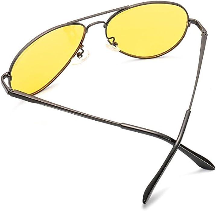bb7cd9c918b WELUK Night Vision Driving Glasses Polarized Aviator Sunglasses for Men  Yellow Lens Anti-Glare  Amazon.co.uk  Clothing