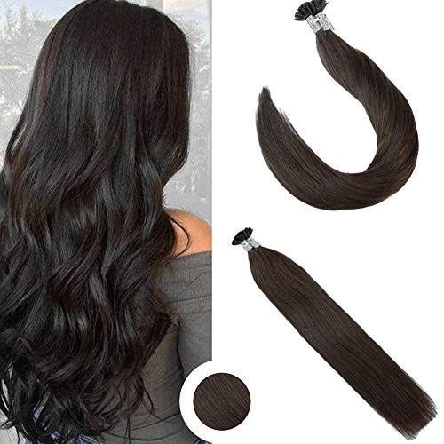 Ugeat 20inch 1g/s 50strands U Tip Hair Extensions Remy Keratin Glue Human Hair Extensions Darkest Brown #2 Total 50g Weight