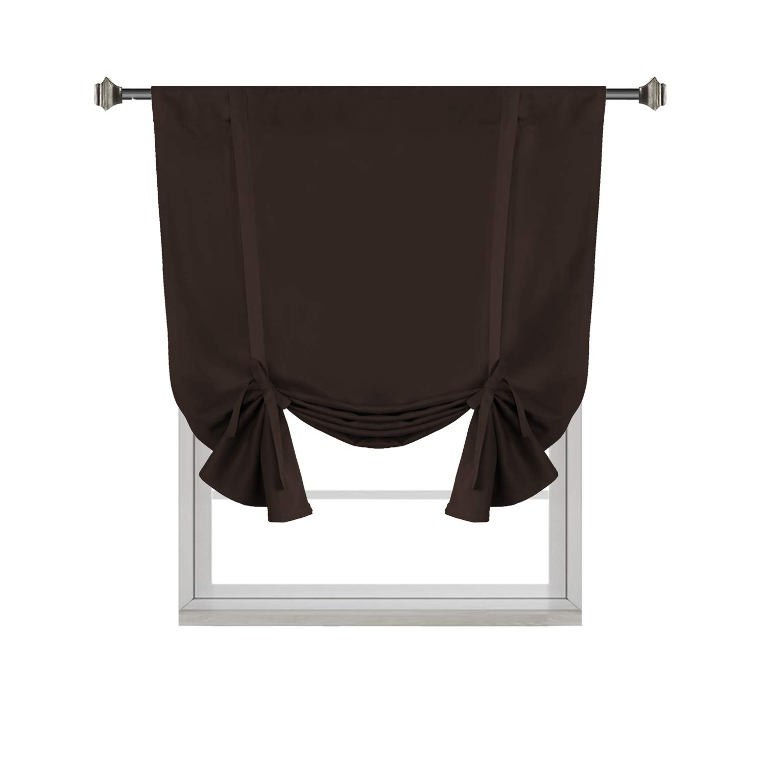 H.VERSAILTEX Blackout Energy Efficient Tie Up Shades -Rod Pocket Panel for Small Window, Chocolate Brown 42W x 63L (Set of 1)
