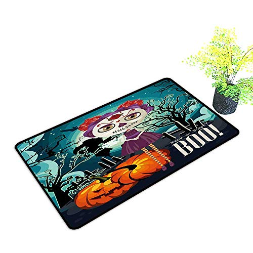 Zmstroy Waterproof Door mat Halloween Cartoon Girl with Sugar Skull Makeup Retro Seasonal Artwork Swirled Trees Boo W16 xL20 Suitable for Outdoor and Indoor use Multicolor -