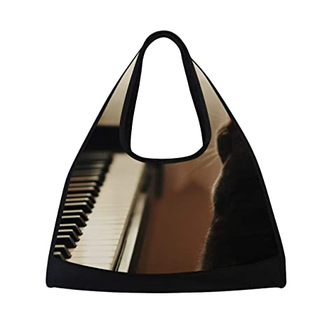 d3b5c797f5eb Image Unavailable. Image not available for. Color  HUVATT Gym Bag Piano and  Cat Women Yoga Canvas Duffel Bag Sports Tote Bags for Girls
