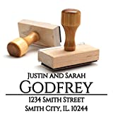Wood Stamper, Custom Wooden Handle Return Address Stamp Personalized – Business Office Mail Stampers – Brilliant Gift for Real Estate Clients, Newlyweds, Family, Wedding or Housewarming