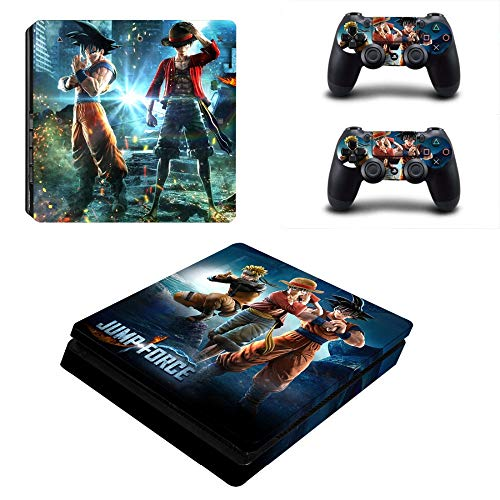 Playstation 4 Slim Skin Set - Jump Force HD Printing Vinyl Skin Cover Protective for PS4 Slim Console and 2 PS4 Controller by Mr Wonderful Skin