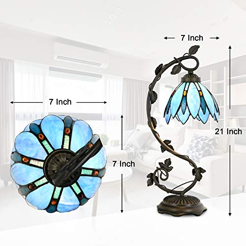 Cloud Mountain Tiffany Style Table Lamp Light Blue Floral Leaf Lotus Shape Arched Stained Glass Desk Lamp Home Decor Lighting with 7 Inch Lampshade by Cloud Mountain (Image #3)