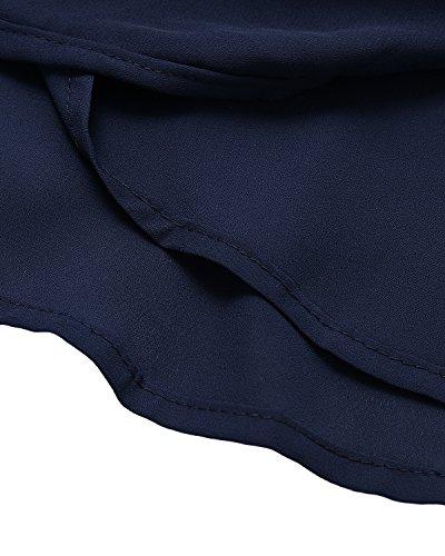 Top Maglie Senza Canotta Elegante Sexy Bluse V Scoperte Collo Maglietta Casual Spalle Donna ACHIOOWA Blu Manica zxwq5YPwO