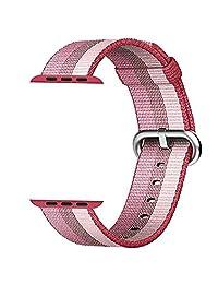 Celendi Sepcial Design Band For Apple Watch 38mm New Release Sports Royal Woven Nylon Bracelet Strap (pink)