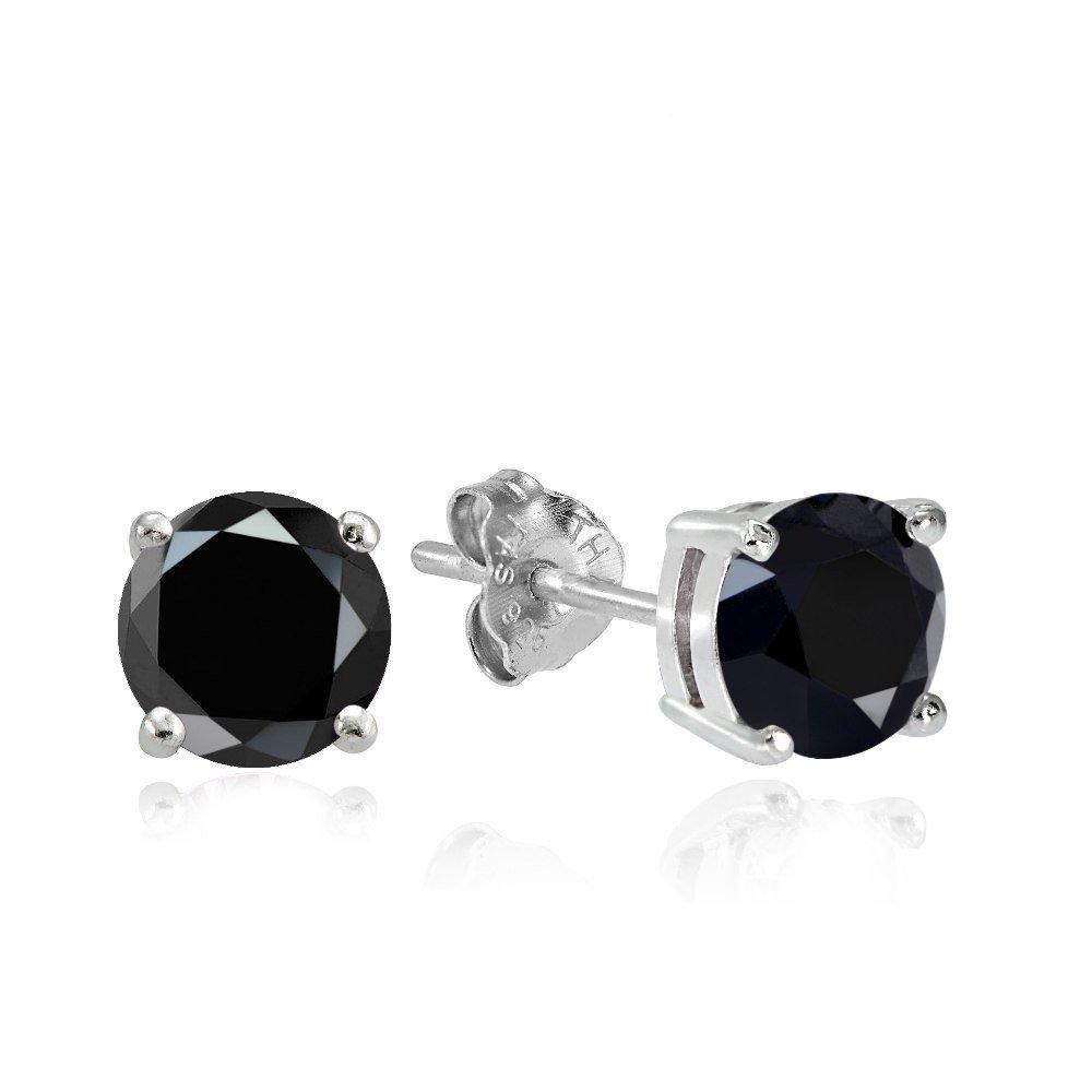 Hoops & Loops Sterling Silver 2ct Black Cubic Zirconia 6.5mm Round Stud Earrings