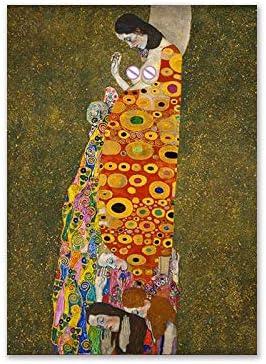 IHlXH Sin Marco Beso por Gustav Klimt Pintura al óleo Lienzo Arte de la Pared para la Sala Adele Bloch Bauer Retrato Pinturas Cuadros Decorativos <> 40x60cm
