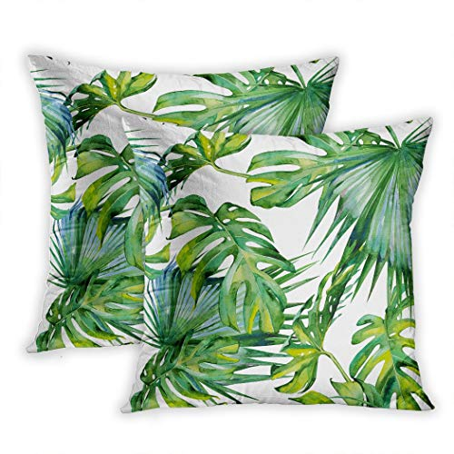 (Houlor Set of 2 Throw Pillow Covers Seamless Leaves Dense Banner Tropic Summertime Motif Textile Wallpaper 20 X 20 Inches Cushion Pillowcase for Living Room Bedroom Dorm Hidden Zipper)