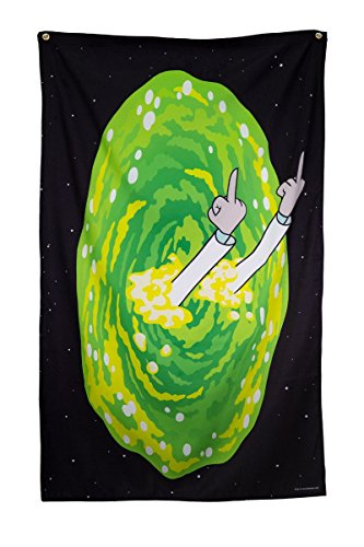 "Calhoun Rick and Morty Indoor Tapestry Wall Banner (30"" by 50"") (Rick Middle Finger) from Calhoun"